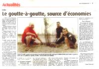 Actuilités – Juillet 2015 – Le goutte à goutte, une source d'économies